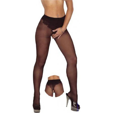 Open crotch tights L-XL/black