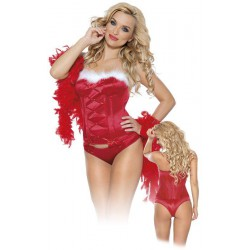 Christmas Bustier and Thong L/Red