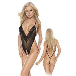 Sexy body s otevřeným rozkrokem L-XL/černé